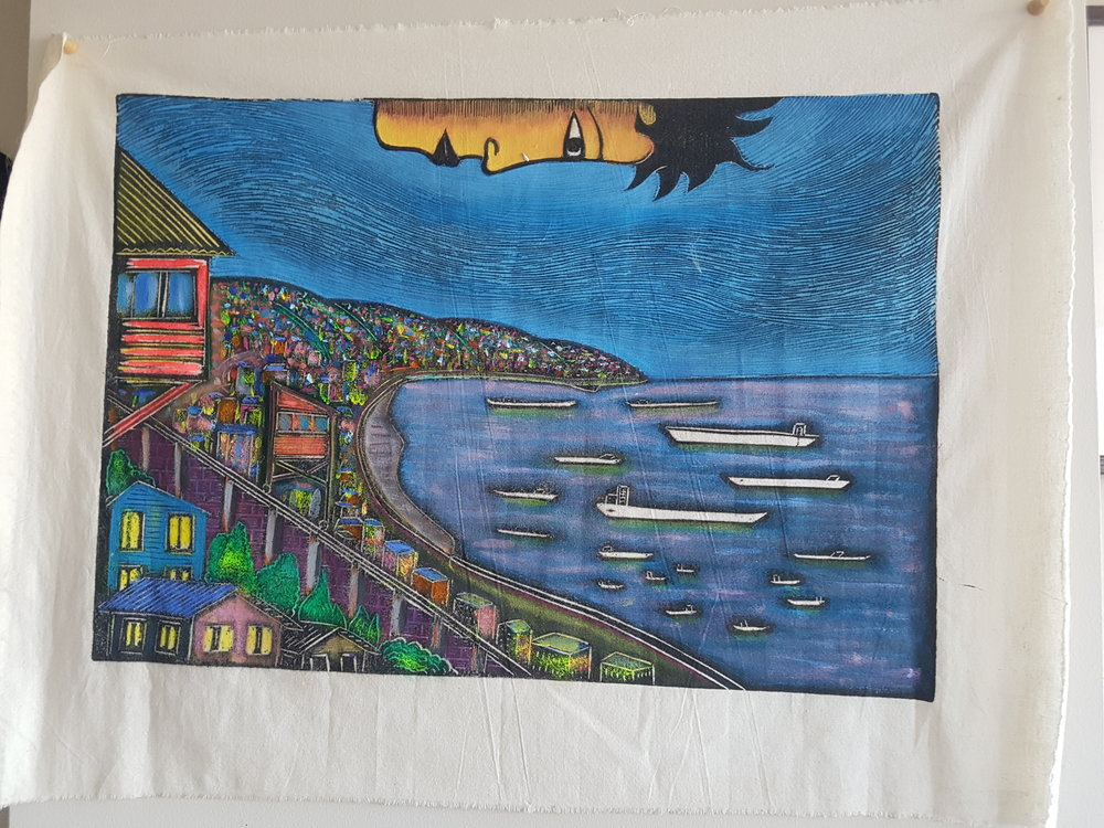 I got this from a local artist in Valparaiso, Chile, and it's a memento of that city built on a hill and all the art that decorates it streets.