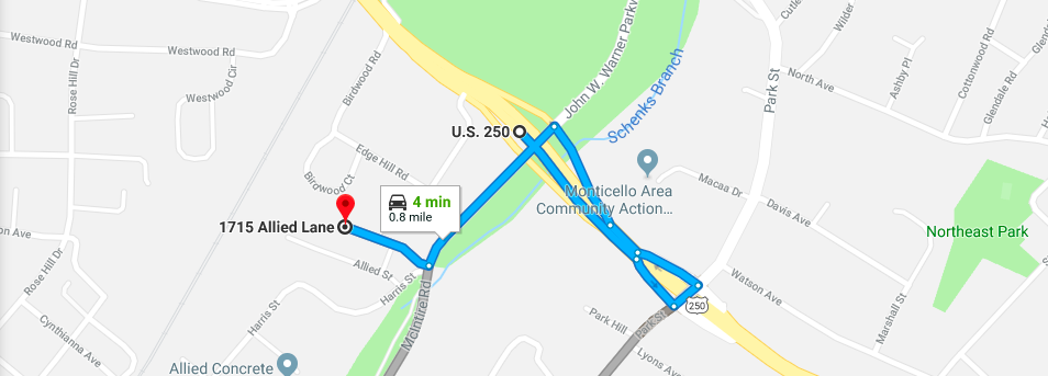 *Google maps cuts off at 1715 Allied Lane, we are the next door over!