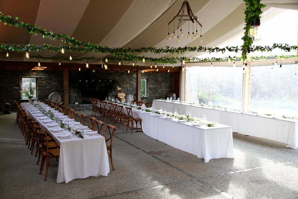 Festoons and artificial foliage