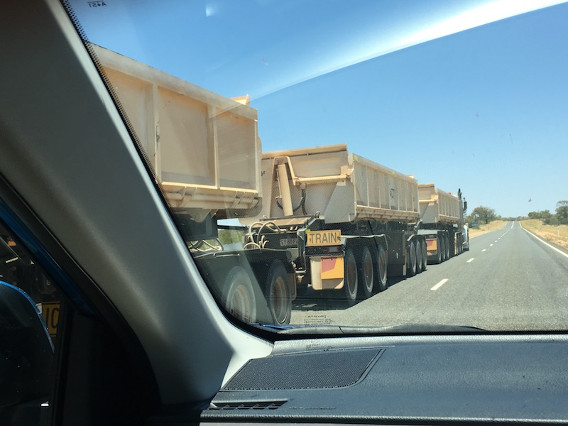 Passing a road train ...