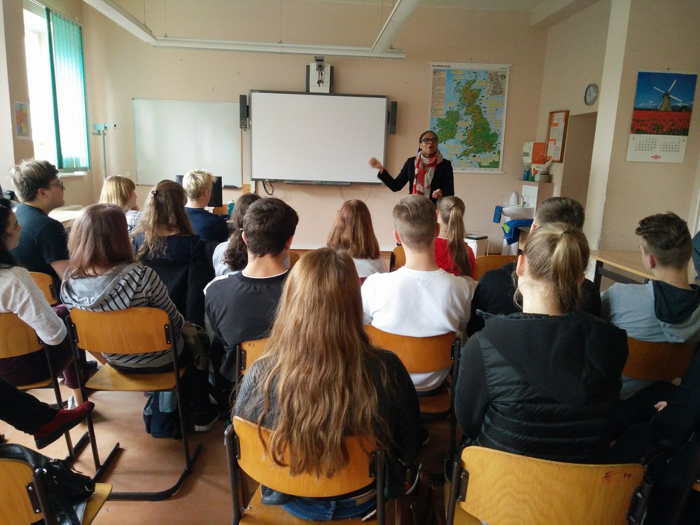 Carl-Friedrich- Gauss-Gymnasium in Frankfurt (Oder) I met with approximately 15 students for an open discussion about the United States. The students asked questions concerning topics that included: the current White House Administration; gun laws; study abroad to the U.S., future German-American relationship; 2016 election; and my experiences in Germany as an exchange student. The students were engaged and posed thought-provoking questions for the entire 90-minute discussion - so bravo to the students! The students seemed genuinely interested in my opinions and open to broadening their perspectives on controversial topics. As an educator, I was very proud of them for keeping me on my toes. I hope to have another opportunity to meet with students again before I move back to the US at the end of my Fulbright grant.