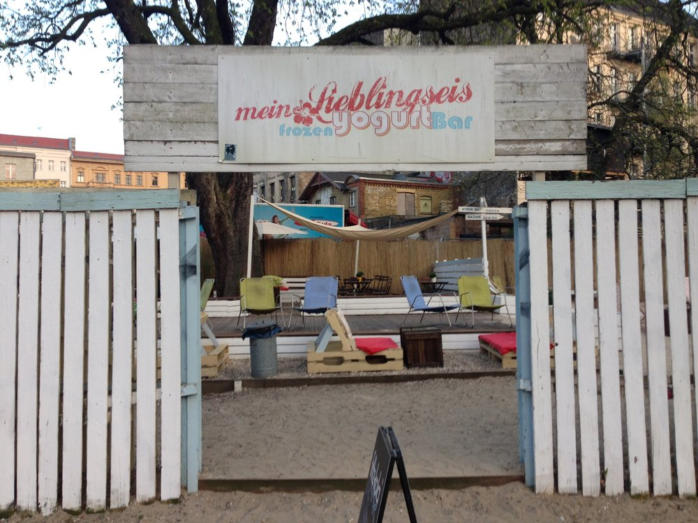 Berlin weather is a bit gloomy -- even into April -- so when temperatures hit 68 degrees, Berliners seized the day with this yogurt bar. Didn't know it was in my neighborhood!