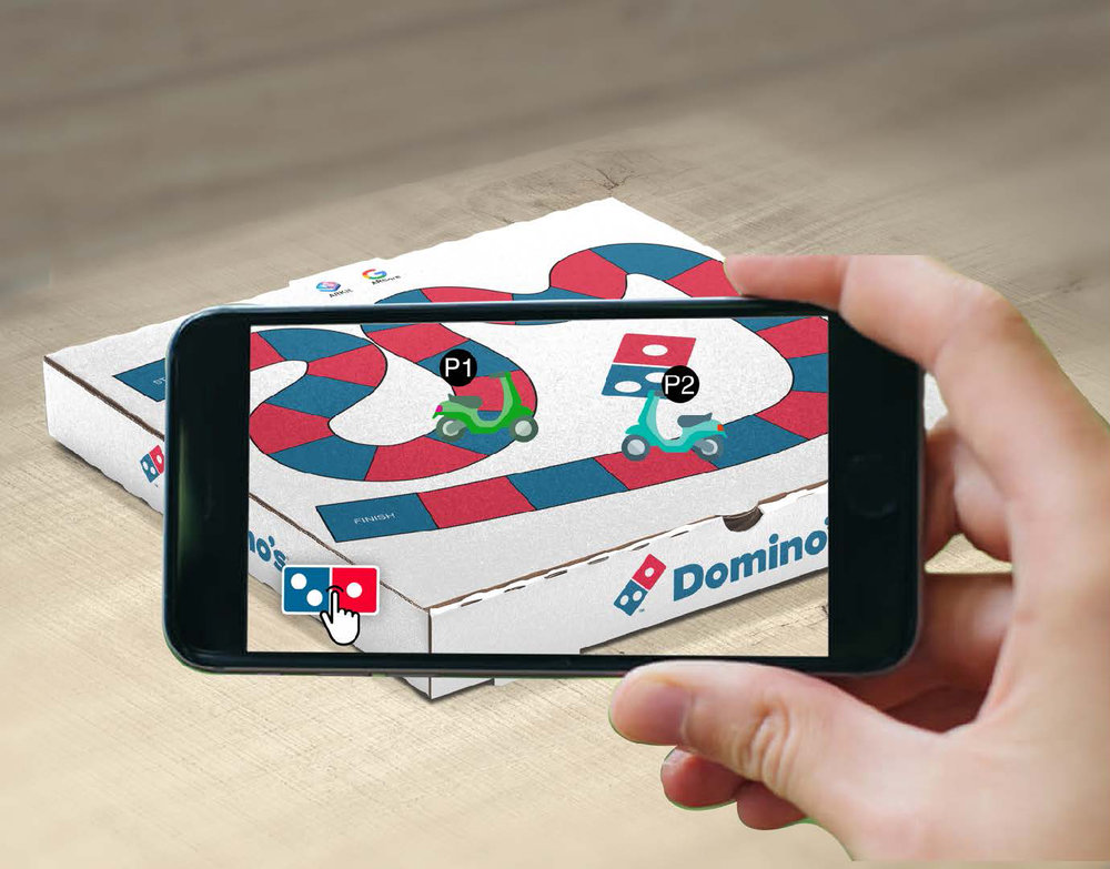 - #4 AR BOARD GAMEDon't toss out the box after the last slice, now you can do something fun with it. Simply point your phone at your Domino's box and play the AR board game online with your friends or strangers.