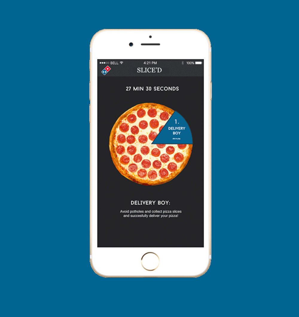 - Slice'dWe understand how hard it can be to wait for your food to arrive so, we made a game that you can play once you order your food. Slice'd is a new addition to our app with fun mini-games that you can complete in 30 minutes, the exact number of minutes it takes for your Domino's delivery to arrive at your doorstep.