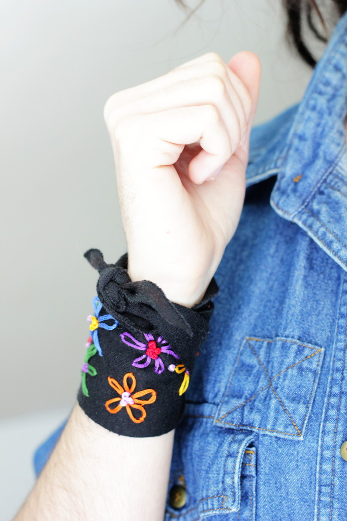 Embroidered Flower Wrap Cuff DIY