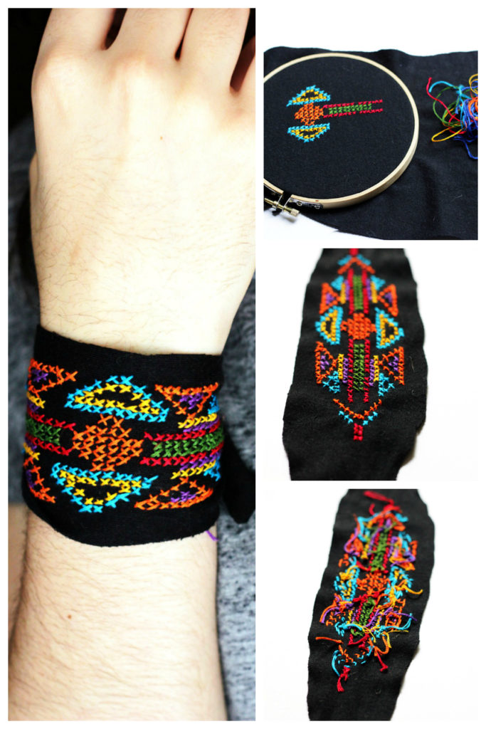 embroidered tribal cuff tutorial