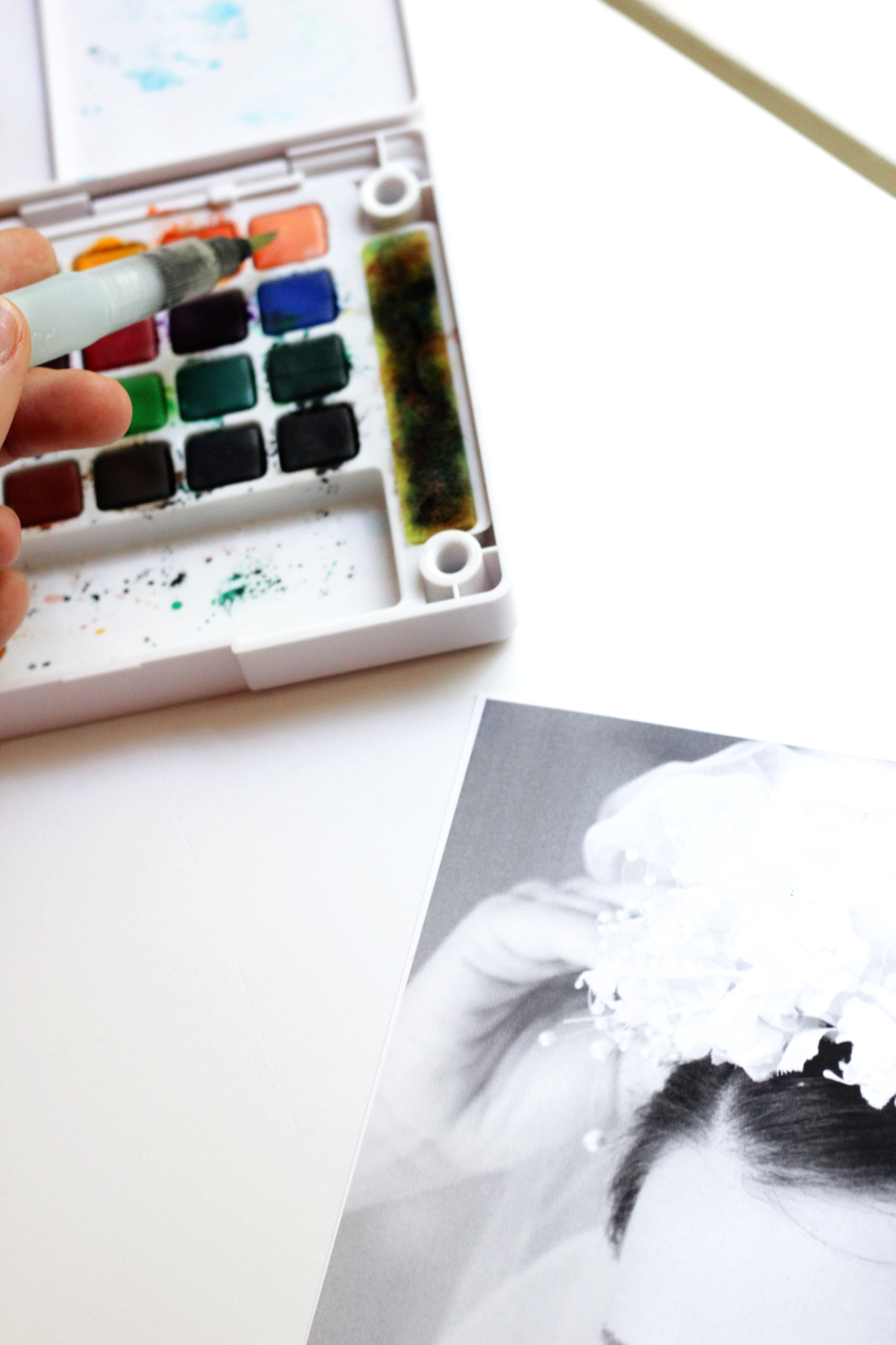 How to Watercolor a Black & White Photo