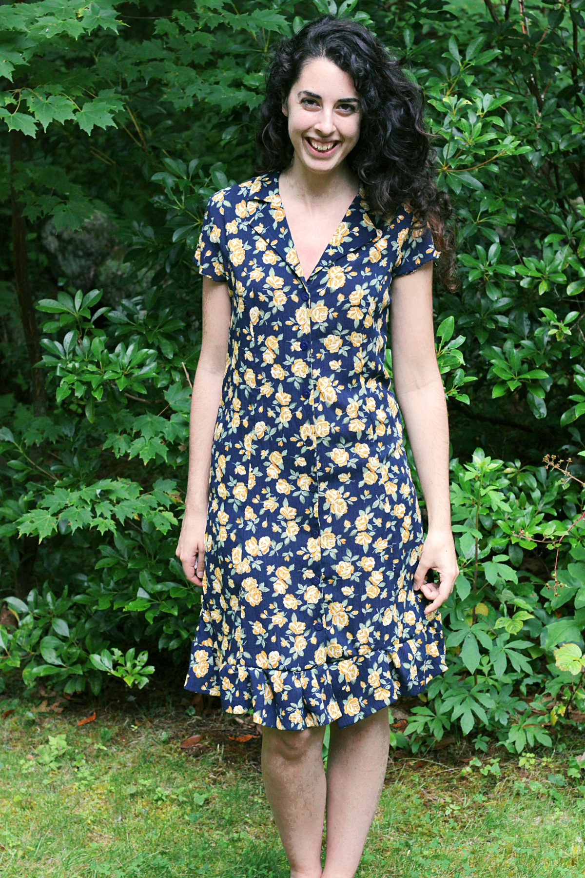 Upcycled Floral Shirt Dress
