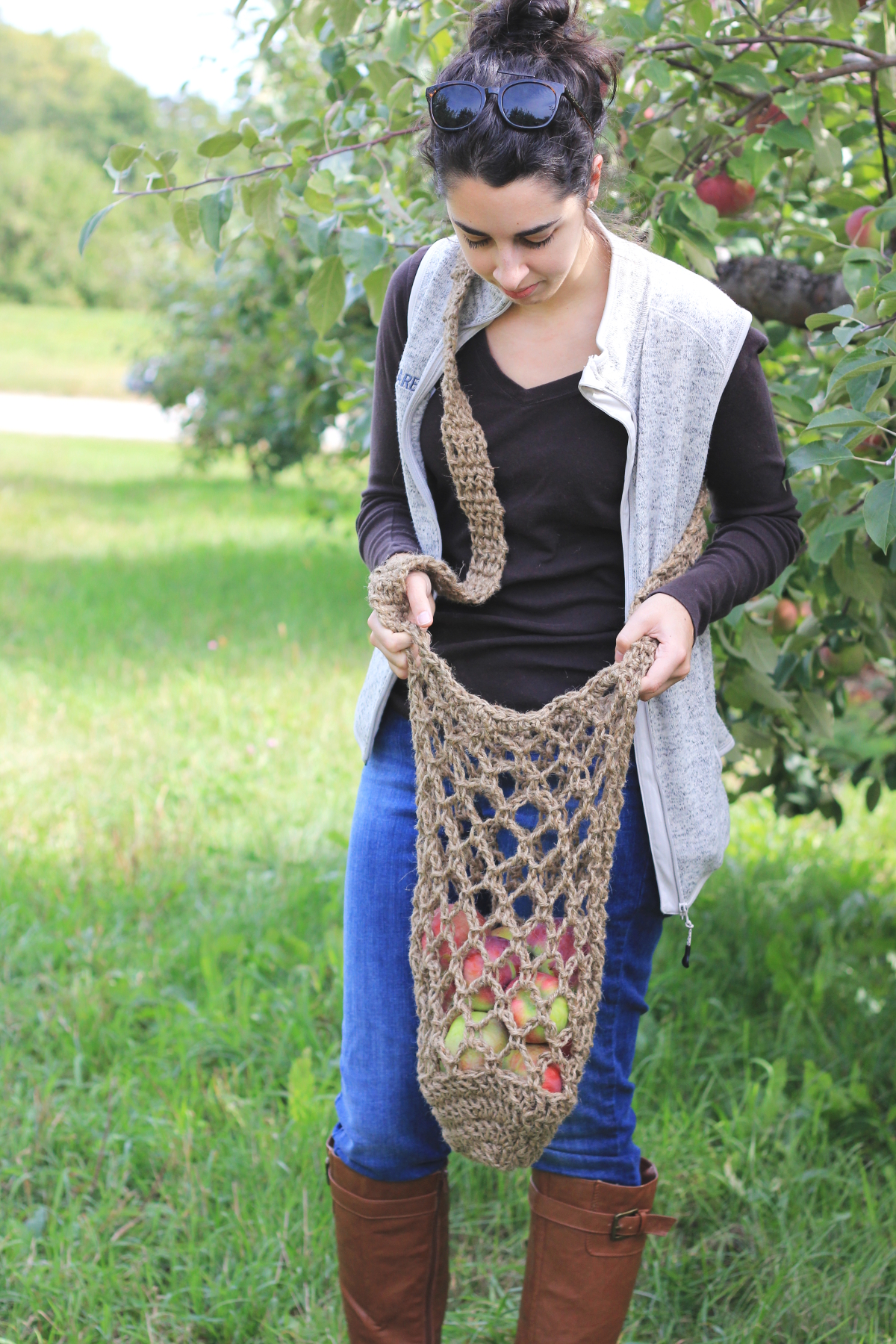 Twine Crochet Apple Bag