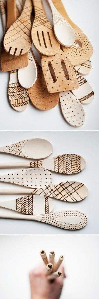 Wood Burned Utensils