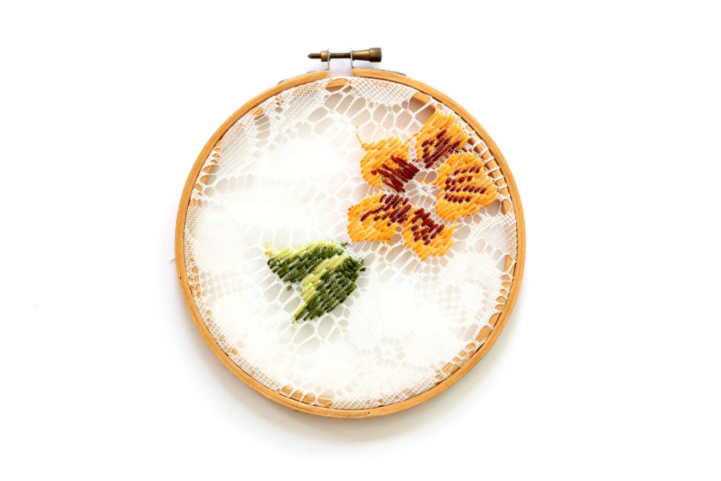 diy embroidered lace hoop art