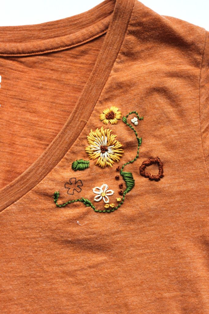upcycled embroidered t-shirt