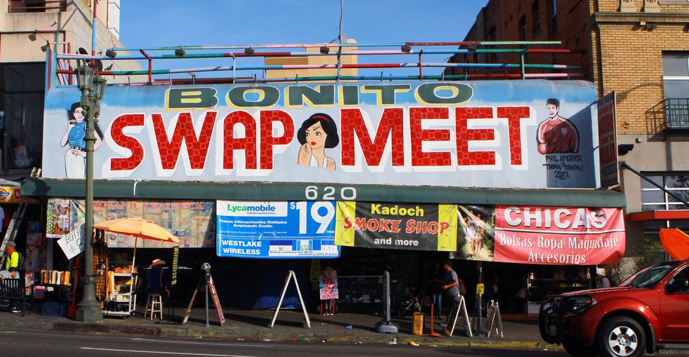 Think Tank Gallery-restored Bonito Swap Meet Mural on the Face of the Venue