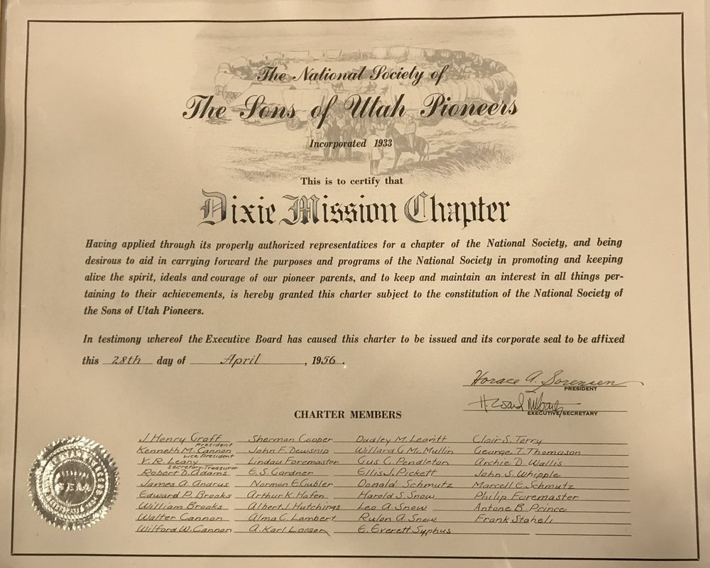 The original charter of what was originally called the Dixie Mission Chapter, formed April 28, 1956.