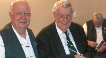 Ralph Atkin , Chapter president, with Dr. Douglas Alder following Dr. Alder's remarks.