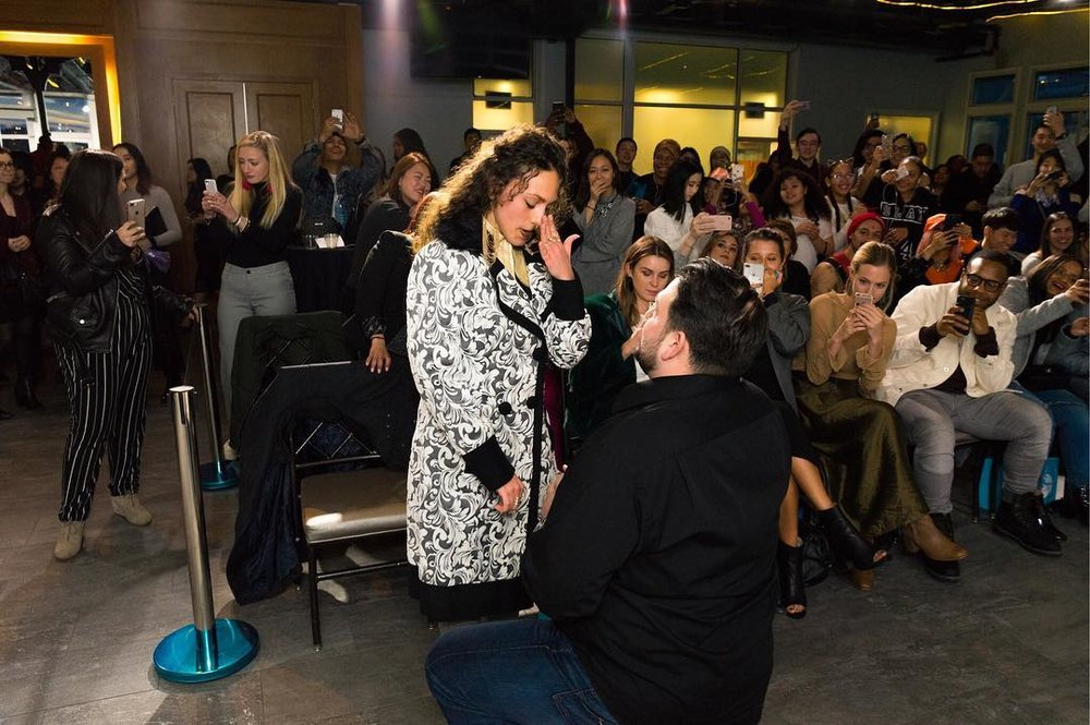 Beautiful moment of Bill and Francesca's Proposal Following Our Runway Show.