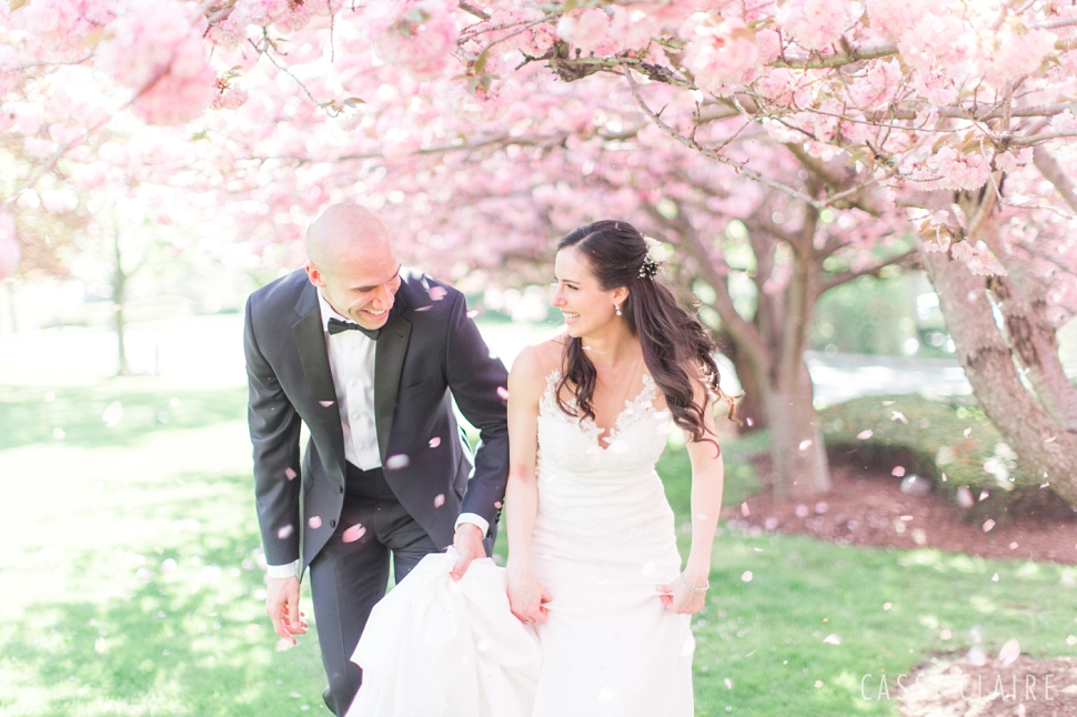 cherry blossoms wedding photo