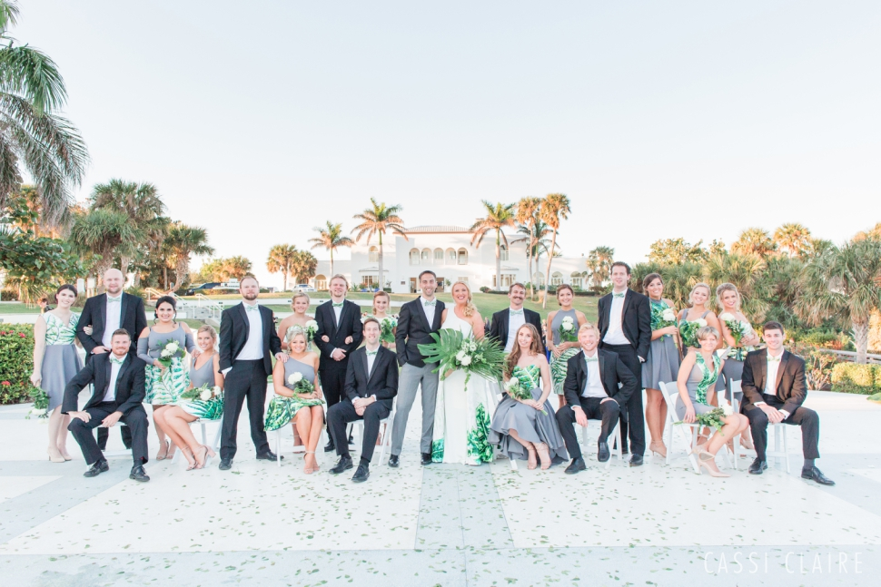 large wedding party pose