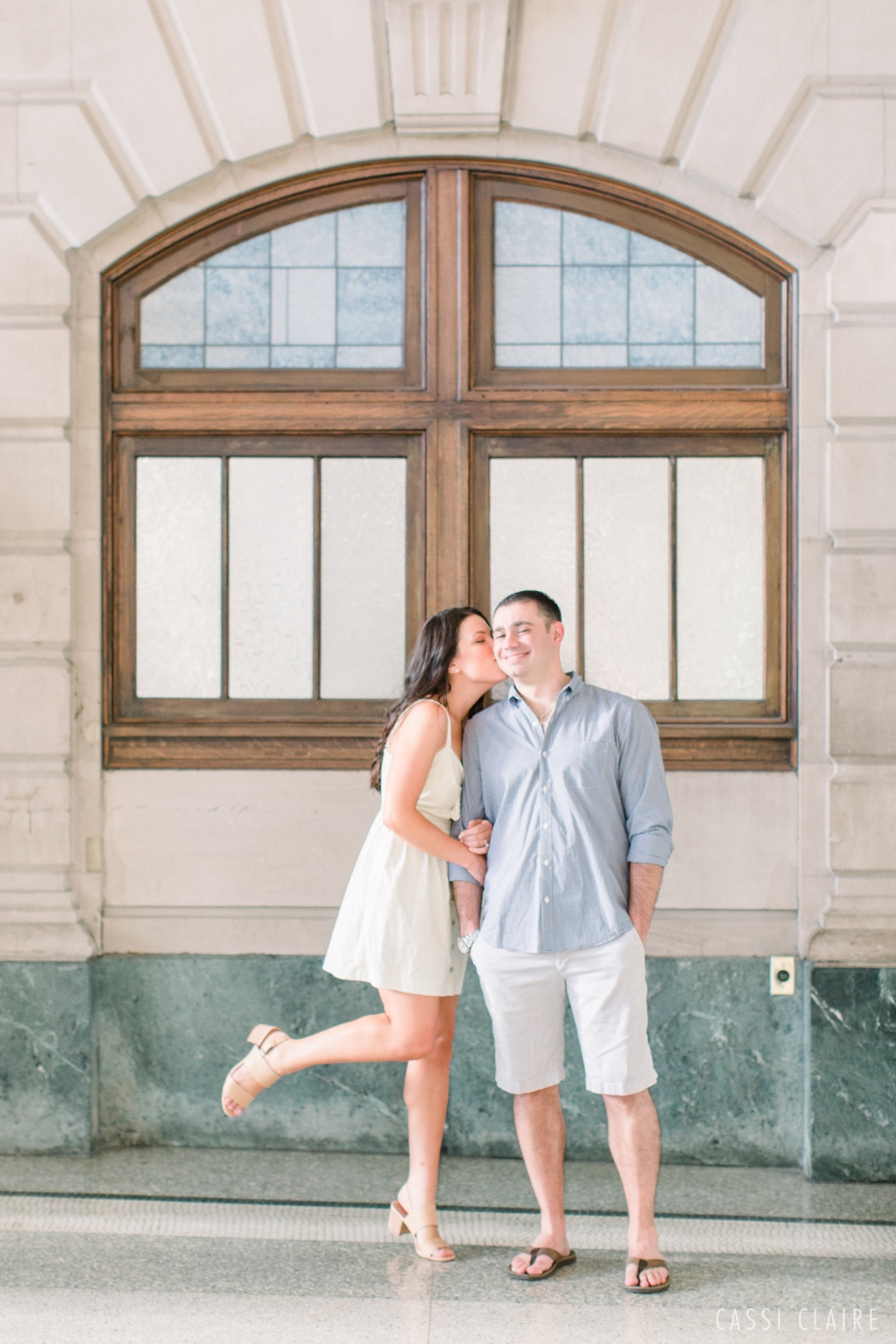 hoboken train station engagement photo