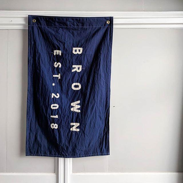 Brown on blue. 🚩 . . . . . #logohorse #logohorsedesign #flagdesign #customflag #customflags #establishedflag #established #vintageflag #flag #flags #estflag #weddinggift #anniversarygift #mykentuckybride #theknot #smp #stylemepretty #weddingregistry #justengaged #hitched #handcrafted #madeinusa #madeinamerica