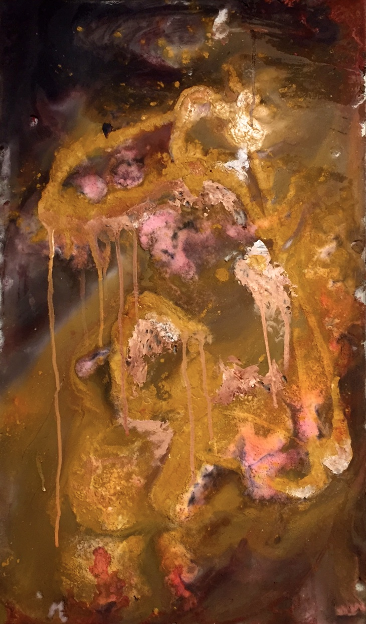 "Vinegar,  2016 acrylic, baking soda, ink and flour on glass 24"" x 14"""