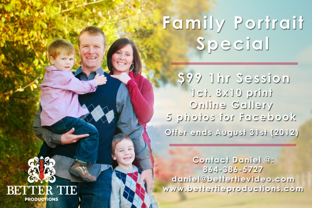 Summer Family Portrait Rate Card 2012