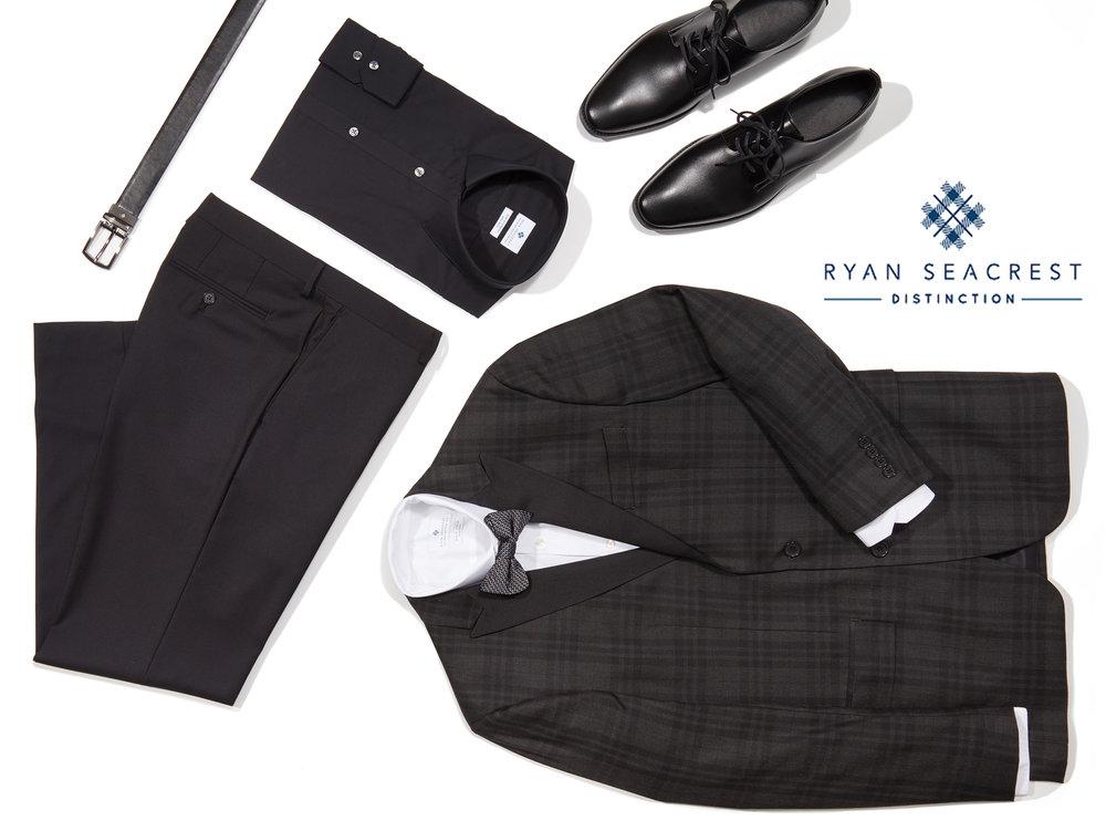 Ryan Seacrest Charcoal Plaid Tuxedo w Logo.jpg