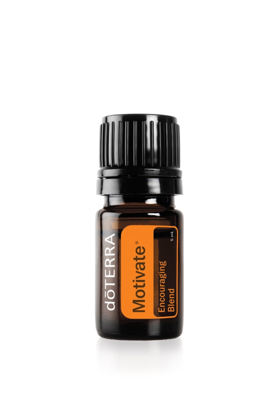 Feelings of confidence and courage will replace negative emotions like guilt and pessimism, with the doTERRA Motivate Encouraging Blend of mint and citrus essential oils.    Ingredients;   Peppermint Plant, Clementine Peel, Coriander Seed, Basil Herb, Yuzu Peel, Melissa Leaf, Rosemary Leaf, Vanilla Bean Absolute