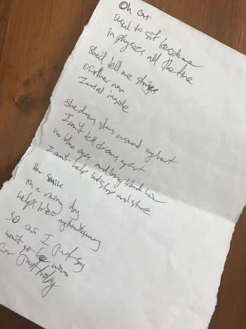 Wee bit of a hoarder and held on to the original song lyrics.... Good luck deciphering his hand writing!