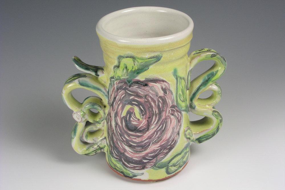 Majolica Floral Vase, View 1 crop.jpg