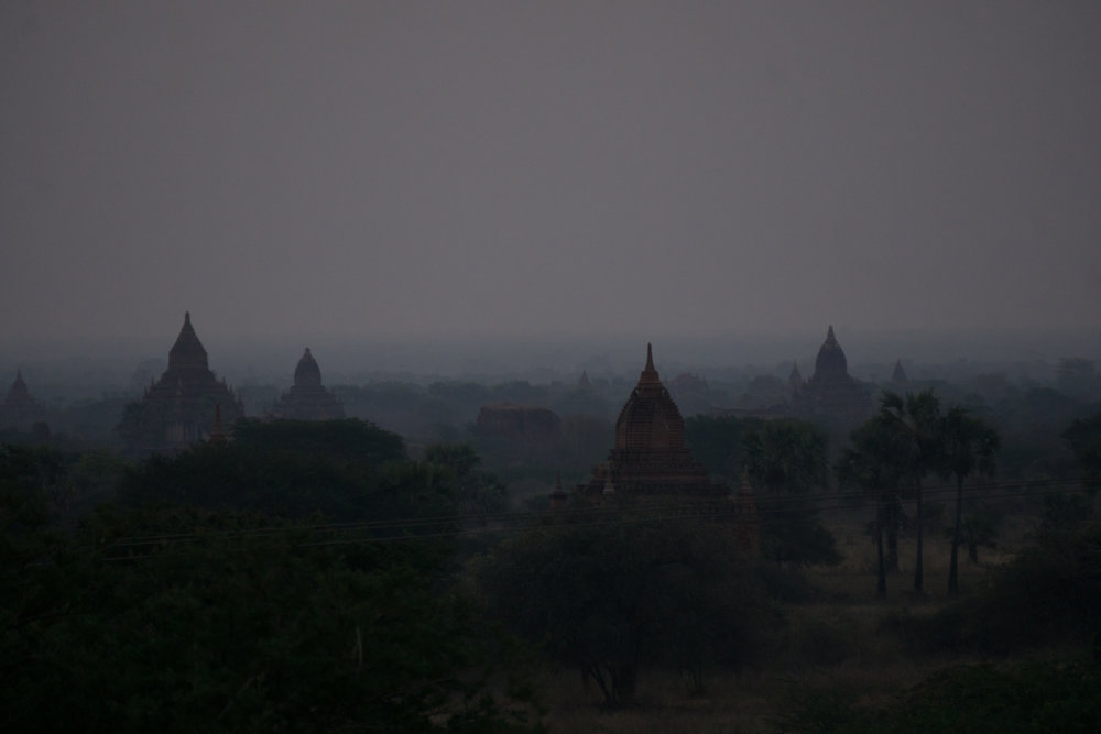 Spooky sunrise over Bagan
