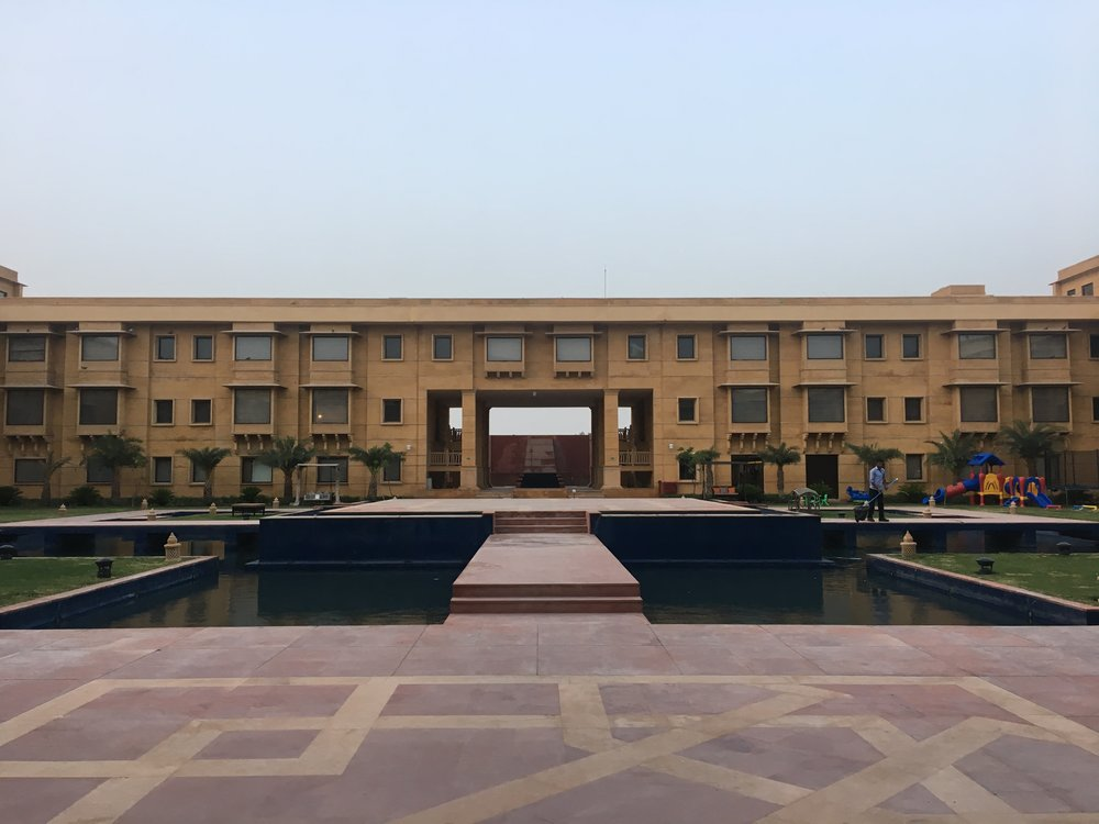 Central courtyard with a fountain and stage (used for weddings)
