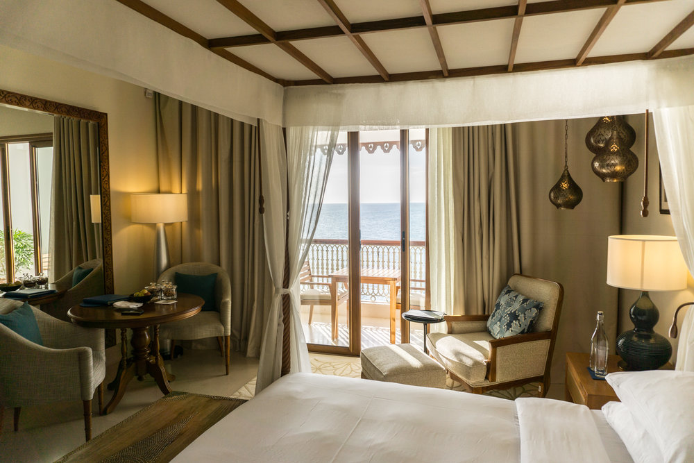 The rooms blended local touches with modern design, and the balcony offered a breathtaking view of the ocean, the pool and the sunset.