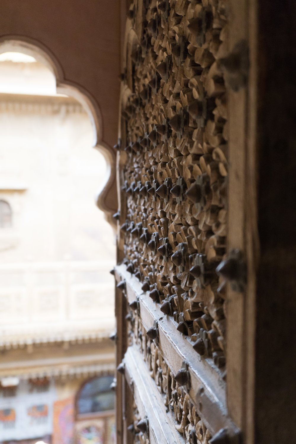 Beautiful wood carving on the doors inside the fort