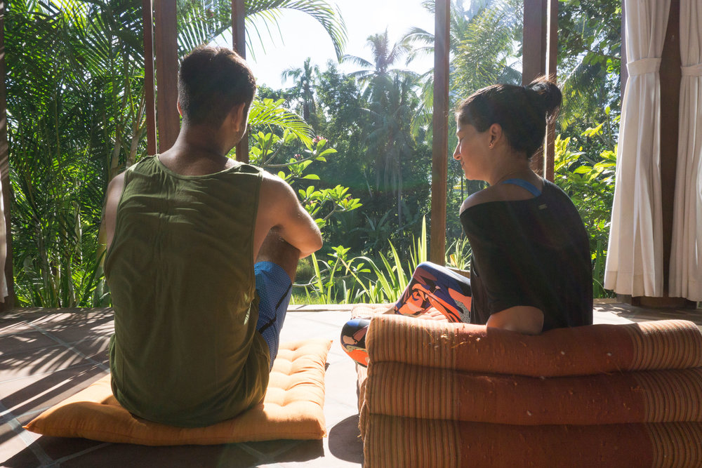 Ubud Yoga House pre-class chilling
