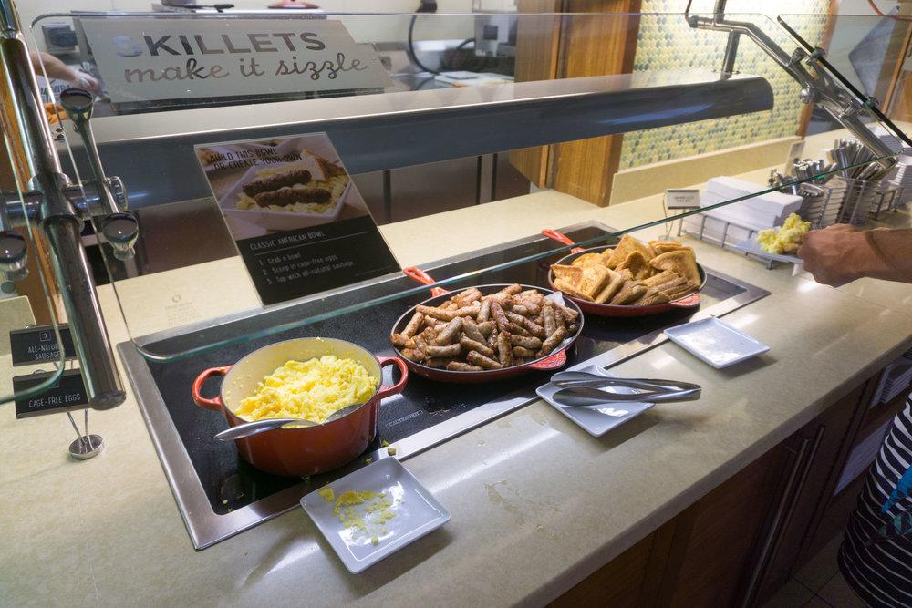 Hot food bar at breakfast