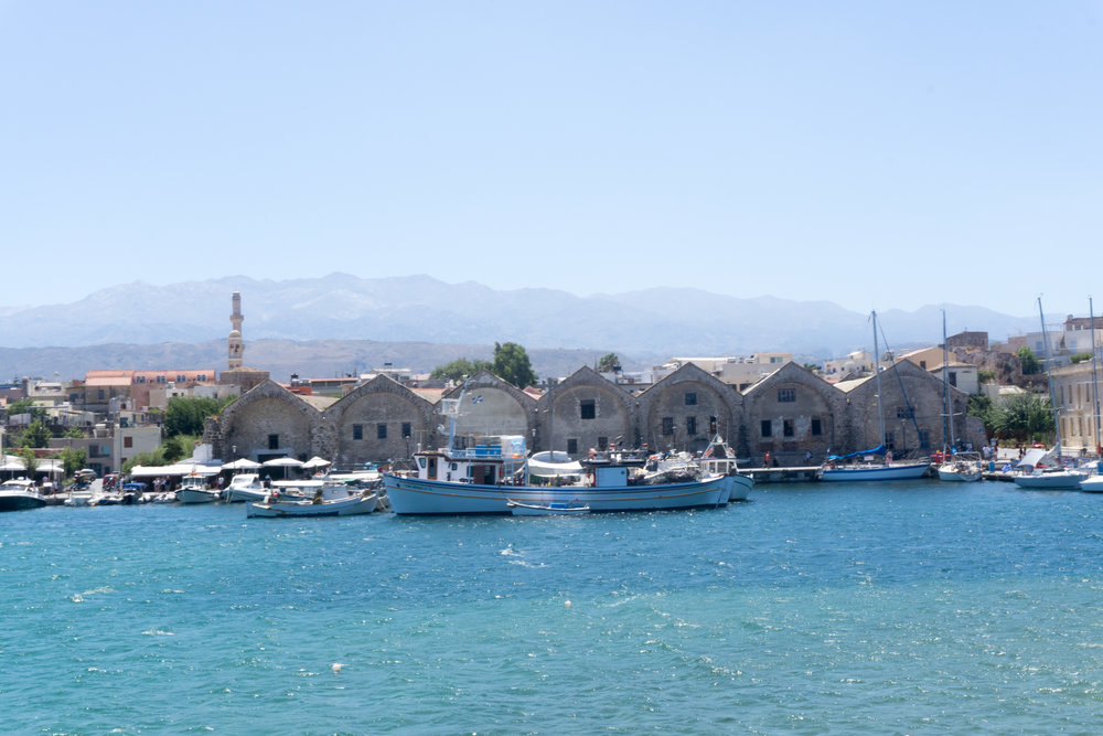 Views of Chania town from the harbor