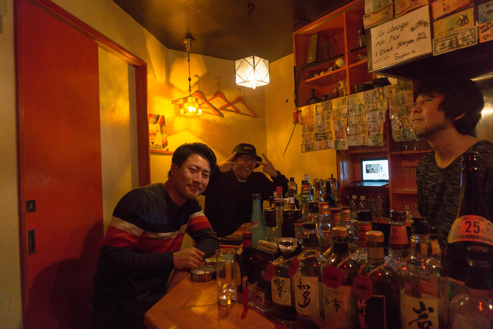 New friends at one of the many tiny bars in Golden Gai