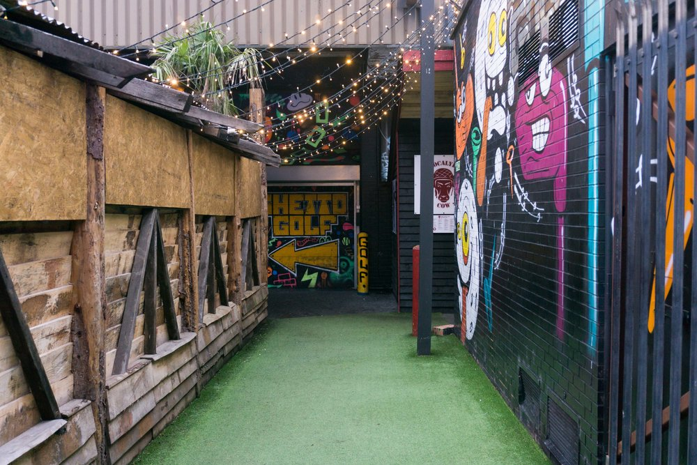 Ghetto Golf near Cain's Brewery Village