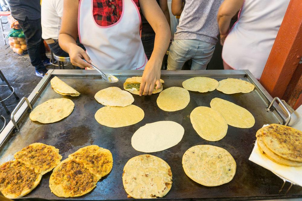 Step 1 of amazing Coyoacán Market quesadillas - fresh tortillas