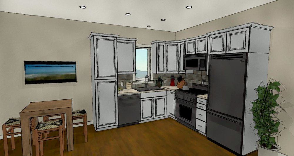 Sketch shows a small Basement Kitchen with White Cabinets and standard appliances