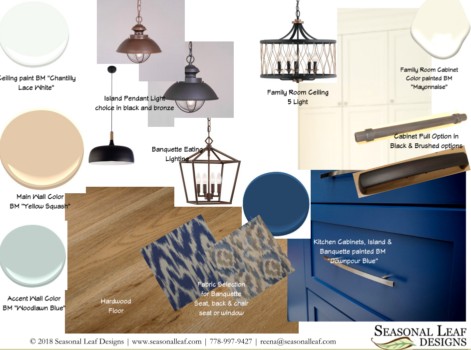 - Seasonal Leaf Designs' Mood Board showing a collection of colors and finishes for various surfaces which would be beneficial to you as a First Time Home Buyer to have. Getting a Consult Package can come with a collection all kinds of co-ordinated material finish suggestions which can then become your shopping list and you can use a resource that has already been figured out for you.