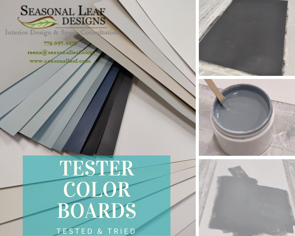 - Improve Your chances to apply the Correct Paint Color for your walls - Examples of Seasonal Leaf Designs' Color Tester Boards that we use for our consultations and we carry these to our Client's Space to show. These are made from real paint which we personally paint.