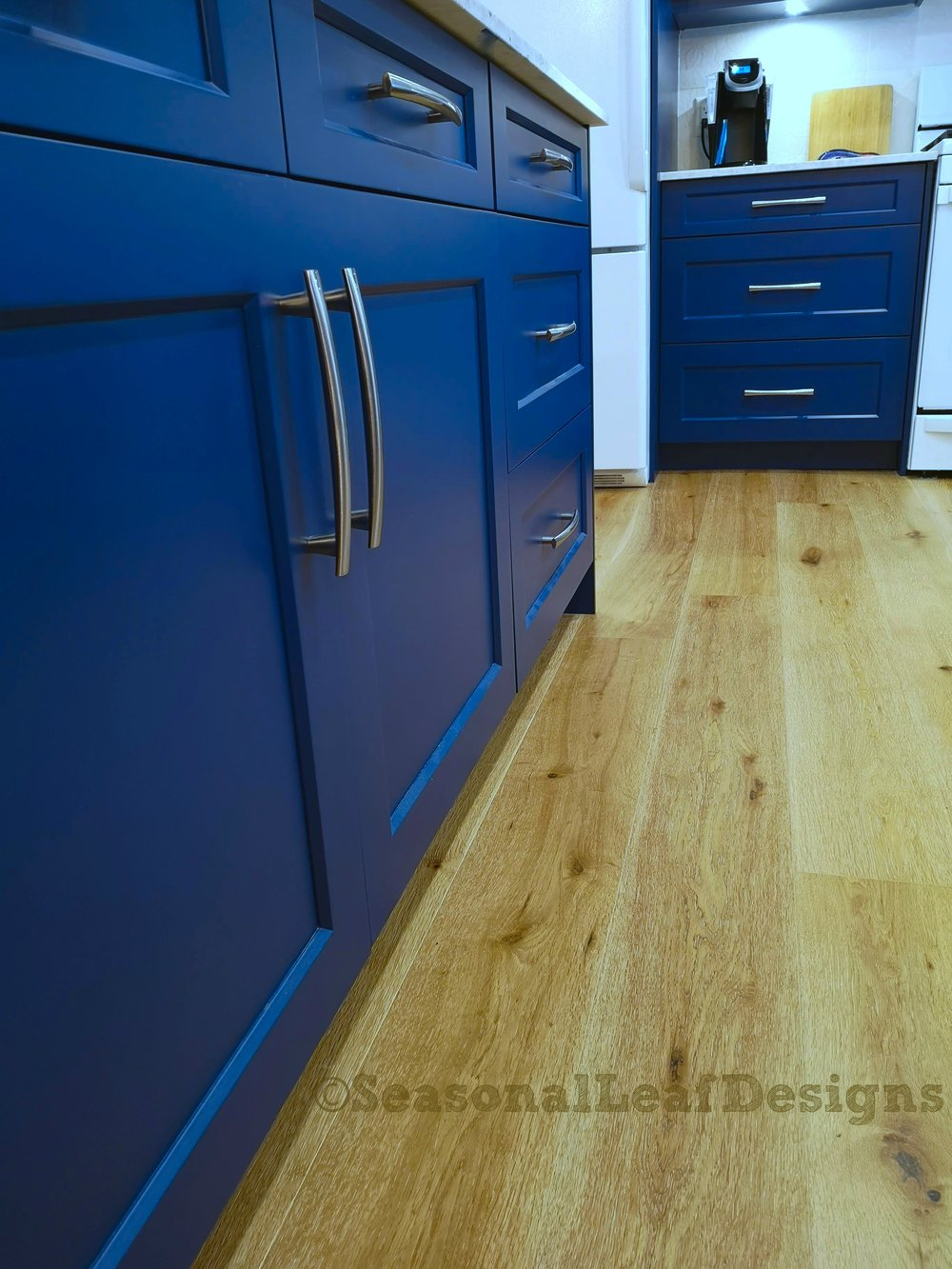 Kitchen Design Downpour Blue Shaker Drawers