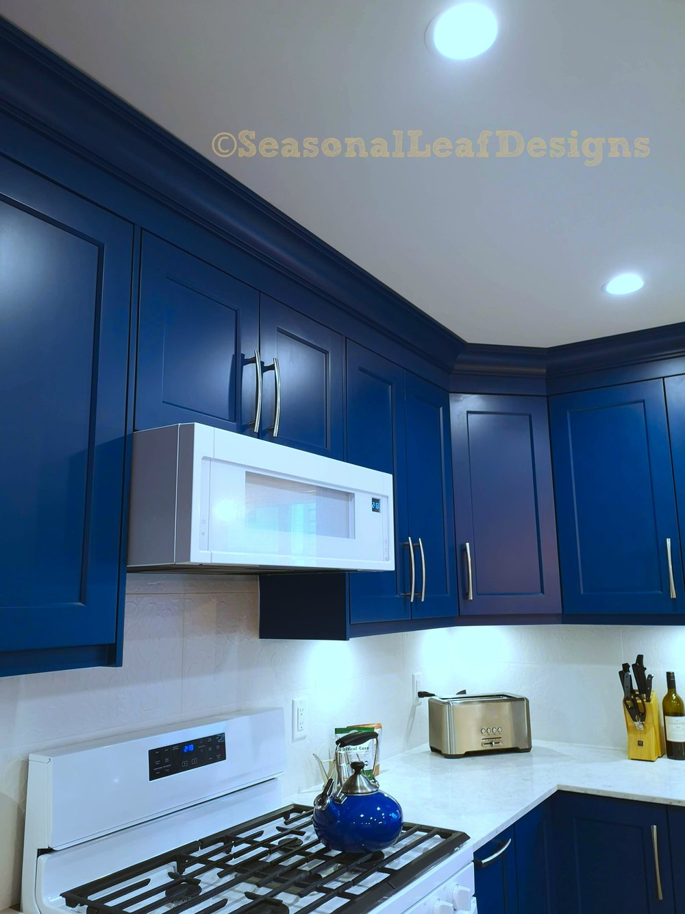 Kitchen Design Blue Wall Cabinets