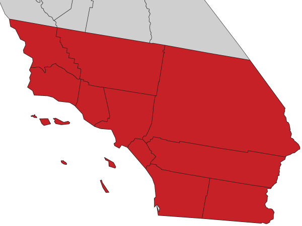Southern California counties service area for Law offices of Winter Law