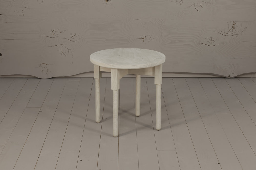 Ley Side Table, 2018  Black Poplar, bleached finish. 580H x 580D   $870    SOLD