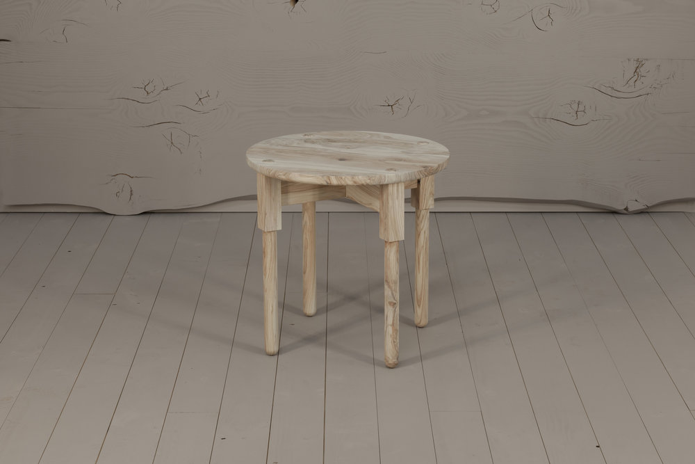 Ley Side Table, 2018  Honey Locust, bleached finish. 580H x 580D   $940    HOLD