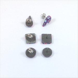 0782bed82 Fiesta Blocks Stud Earrings polymer clay stud earrings pink blue extruder  cane