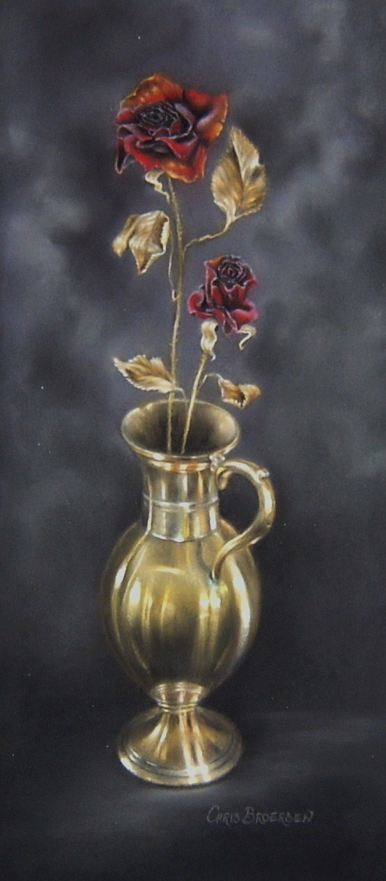 Dried Roses in Brass Jug